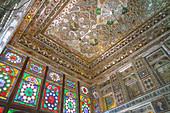 Mirrored reception hall ceiling, Khan-e Zinat al-Molk, Qavam al-Molk family's private quarters, Shiraz, Iran, Middle East