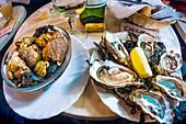 France-Aquitaine-Gironde- Food- 'Bulos' and 'Huitres' at Bistrot 'Chez Jean-Mi' on 'Marché des capucins, at Bordeaux.