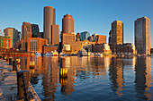 Fan Pier Harborwalk Rowes Wharf Downtown Skyline Inner Harbor South Boston Massachusetts Usa.