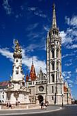 Hungary, Central Hungary, Budapest, Danube, Capital City, castle hill in Buda, Holy Trinity Square, Holy Trinity column, plague column, baroque, Matthias Church, parish church, coronation church, catholic church, Gothic, renaissance, tourists, UNESCO Worl