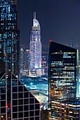 UAE, Dubai, Downtown Dubai, The Address Downtown Hotel, elevated view, dusk.
