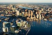 Seaport district, aerial, Fan Pier, South Boston, Massachusetts, USA.