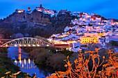 Arcos de la Frontera, Dusk, Pueblos Blancos (´white towns´) Route Cadiz province, Andalusia, Spain.