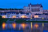 Amboise, Castle, Chateau de Amboise, Amboise Castle. Dusk, Indre et Loire, Loire Valley, Loire River, Val de Loire, UNESCO World Heritage Site, France.