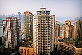 Chongqing, China - The view of many skyscrapers at Yuzhong Peninsula.