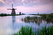 Sky is tinged with purple at dawn on the windmills reflected in the canal Kinderdijk Rotterdam South Holland Netherland Europe.