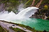 Fierza lake reservoir hydropower plant. Albania.