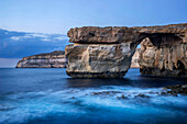 Malta, Gozo. Seascape at Azure Window natural arch, near St Lawrence.