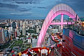 Elevated view from Red Sky Rooftop Bar. Centara Grand Hotel at CentralWorld Complex, Bangkok, Thailand.