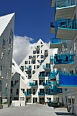 The Iceberg apartment building in the new quarter Aarhus Ã. constructed by the expansion of the harbour area, Aarhus, Jutland Peninsula, Denmark, Northern Europe.