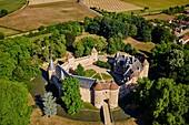 France, Cher (18), Berry, château d'Ainay-le-Vieil castle, aerial view, the Jacques Coeur road.