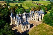 France, Cher (18), Berry, Chateau de Meillant castle, aerial view, the Jacques Coeur road.