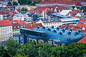 Roofs of the city and Kunsthaus, Graz Art Museum, view from Schlossberg, castle mountain, Graz, Austria.