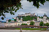 Panoramic view of Salzburg castle and Old Town, Austria.
