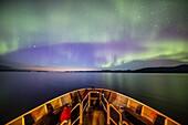Northern lights, aurora borealis, from the Lindblad Expeditions ship National Geographic Sea Bird, Frederick Sound, Alaska, USA.