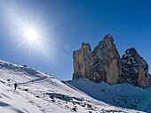 The iconic Drei Zinnen - Tre Cime di Lavaredo in South Tyrol – Alto Adige in the Dolomites, a unesco world heritage site. europe, central europe, italy, october.
