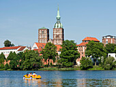 Cityscape of Stralsund with the pond Knieperteich. The Hanseatic City Stralsund. The old town is listed as UNESCO World Heritage. Europe, Germany, West-Pomerania, June.