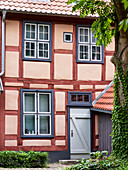 Traditional buildings in the compound of the former monastery Heiligen Kreuz in the city center. The hanseatic city of Rostock at the coast of the german baltic sea. Europe,Germany, Mecklenburg-Western Pomerania, June.
