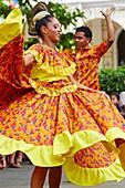 Typical dances, Plaza de Bolivar, Cartagena de Indias, Bolivar, Colombia, South America