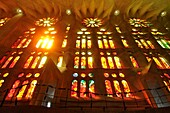 Basílica i Temple Expiatori de la Sagrada Familia, Basilica and Expiatory Church of the Holy Family. Large Roman Catholic church in Barcelona, Catalonia Spain, designed by Catalan architect Antoni Gaudí 1852-1926. Although incomplete, the church is a UNES