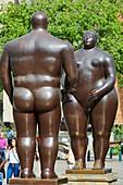 'Adan y Eva' (Adam and Eve), sculptures by Fernando Botero, Palacio de la Cultura, Plaza Fernando Botero, Medellin, Antioquia, Colombia, South America
