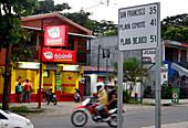 Funny streetsign in Jicaral at Golf of Nicoya, Guanacaste, Costa Rica