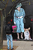Queen with dog, Graffiti by Mr Brainwash, Holborn, London, Great Britain