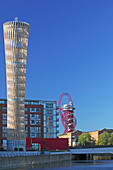 Strand East Tower at Danes Yard andArcelor Mittal Orbit, Queen Elizabeth Olympic Park, London, Great Britain