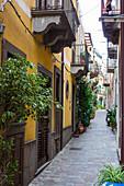 narrow alley in Lipari town, Lipari Island, Aeolian Islands, Lipari Islands, Tyrrhenian Sea, Mediterranean Sea, Italy, Europe