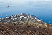 tourists climbing Stromboli Volcano view on Stromboli town, Stromboli Island, Aeolian Islands, Lipari Islands, Tyrrhenian Sea, Mediterranean Sea, Italy, Europe