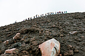 Tourists climbing on the summit of Stromboli Volcano, Stromboli Island, Aeolian Islands, Lipari Islands, Tyrrhenian Sea, Mediterranean Sea, Italy, Europe