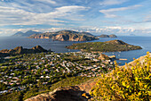 Panoramic view from Vulcano to Salina, Lipari and Panarea, Lipari Islands, Aeolian Islands, Tyrrhenian Sea, Mediterranean Sea, Italy, Europe