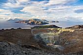 Panoramic view from the crater of Vulcano to Salina, Lipari and Panarea, Vulcano, Lipari Islands, Aeolian Islands, Tyrrhenian Sea, Mediterranean Sea, Italy, Europe