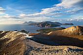 Panoramic view from the crater of Vulcano to Salina and Lipari, Vulcano, Lipari Islands, Aeolian Islands, Tyrrhenian Sea, Mediterranean Sea, Italy, Europe