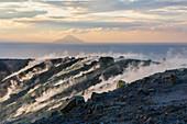 Sulfur on the crater rim of Gran Cratere, view from Vulcano Island to Filicudi, Lipari Islands, Aeolian Islands, Tyrrhenian Sea, Mediterranean Sea, Italy, Europe