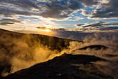 Sulfuric steam on the crater rim of Gran Cratere, view from Vulcano Island to Salina and Lipari, Lipari Islands, Aeolian Islands, Tyrrhenian Sea, Mediterranean Sea, Italy, Europe