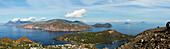 Panoramic view from Vulcano to Salina, Lipari, Panarea and Stromboli, Lipari Islands, Aeolian Islands, Tyrrhenian Sea, Mediterranean Sea, Italy, Europe