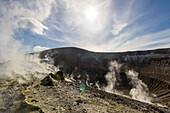 Sulfur on the crater rim of Gran Cratere, Lipari Islands, Aeolian Islands, Tyrrhenian Sea, Mediterranean Sea, Italy, Europe