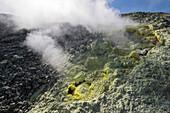Sulfur on the crater rim of Gran Cratere, Vulcano Island, Lipari Islands, Aeolian Islands, Tyrrhenian Sea, Mediterranean Sea, Italy, Europe
