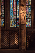 sculpture and artistic windows, interior of Strasbourg cathedral, Strasbourg, Alsace, France