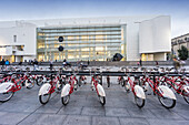 Rental bikes, MACBA, Museum of Modern Art by Richard Maier, Barcelona, Catalunia, Spain