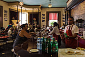 The restaurant El Floridta with the statue of writer Ernest Hemingway, La Havana Vieja, Havana, Cuba