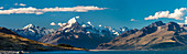 Mt Cook, Aoraki and Lake Pukaki, Mackenzie, Canterbury, New Zealand Alps, South Island, New Zealand, Oceania