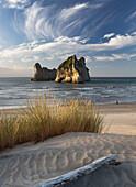 Wharariki Beach, Cape Farewell, Farewell Split, Tasman, Tasman Sea, Cook Strait South Island, New Zealand, Oceania