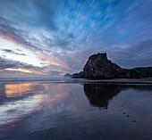 Piha beach mit Spiegelung, Waitakere Ranges Regional Park, Auckland, Tasmansee, Nordinsel, Neuseeland, Ozeanien