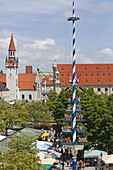 View over Viktualienmarkt with the steeple of the old city hall, Munich, Upper Bavaria, Bavaria, Germany