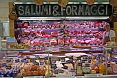 Salami and cheese counter at Eataly italian deli shopping mall, Schrannenhalle, Viktualienmarkt, Munich, Upper Bavaria, Bavaria, Germany