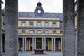 Court yard of the headquarter of Munich Re, Koeniginstrasse, Schwabing, Munich, Upper Bavaria, Bavaria, Germany
