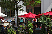 Terrace of restaurant der Pschorr, Viktualienmarkt, Munich, Upper Bavaria, Bavaria, Germany