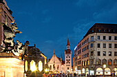 Base of the Column, View of the old city hall, Marienplatz, Munich, Upper Bavaria, Bavaria, Germany